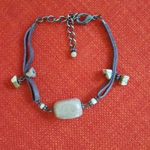 Semi-Precious Stone & Leather Band Bracelet - (B8)